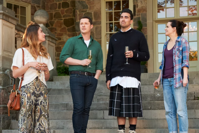 Annie Murphy as Alexis Rose, Noah Reed as Patrick Brewer, Dan Levy as David Rose, and Emily Hampshire as Stevie Budd in Schitt's Creek