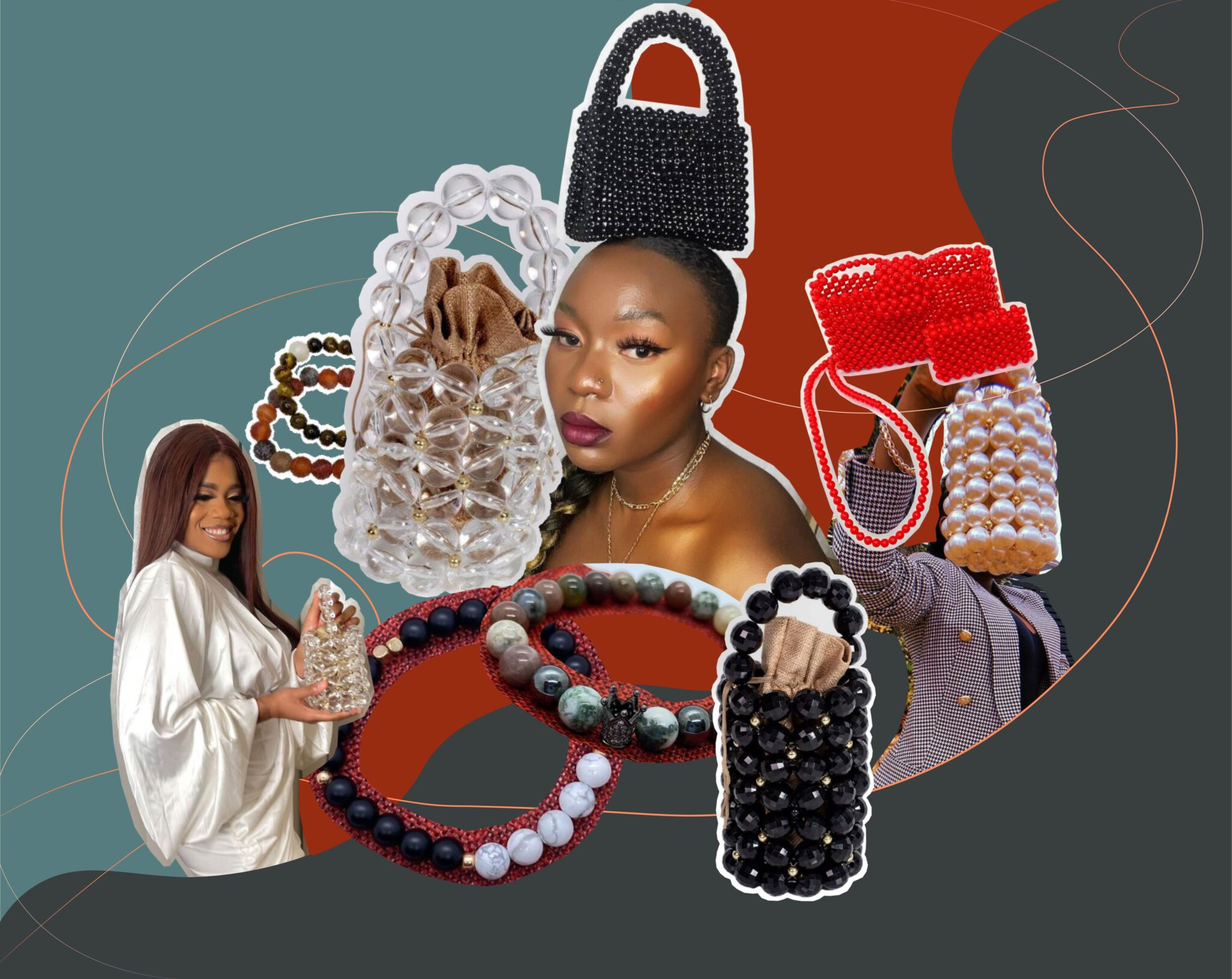 Photo collage featuring various Ashabi beaded bracelets and bags.