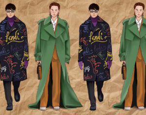 Digital illustration of two male models from Men's Fashion Week FW21