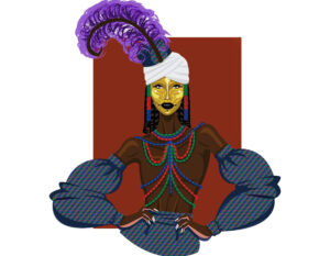 Digital illustration inspired by the Wodaabe Tribe, of a woman wearing colourful beads, yellow face paint and a large purple feather on her head.