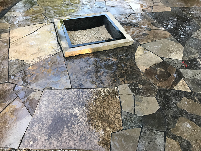 Flagstone walkway with built in firepit