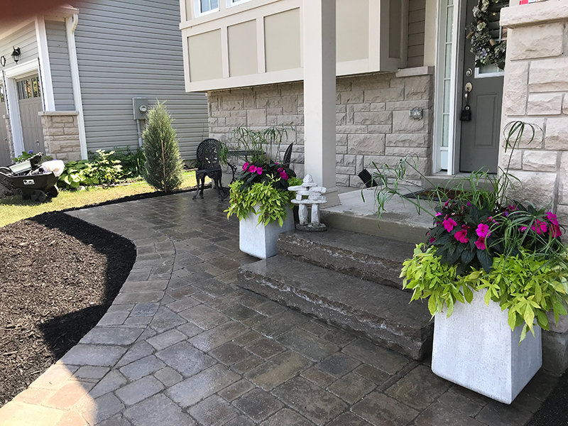 Front walkway built with interlock stone