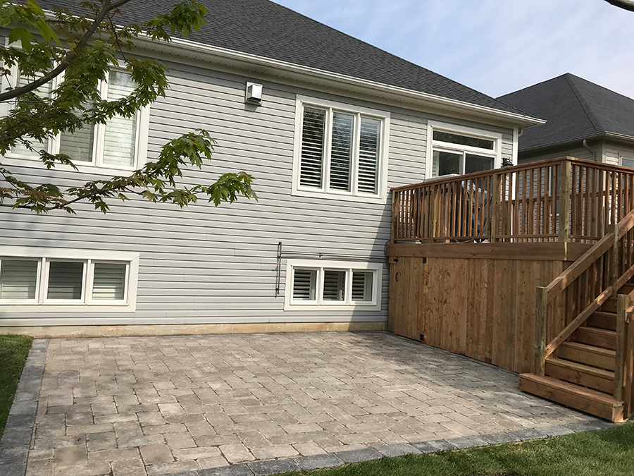 Back Patio Interlock and deck Wasaga