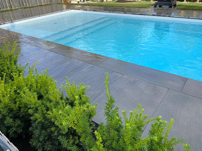 pool landscaping and stone