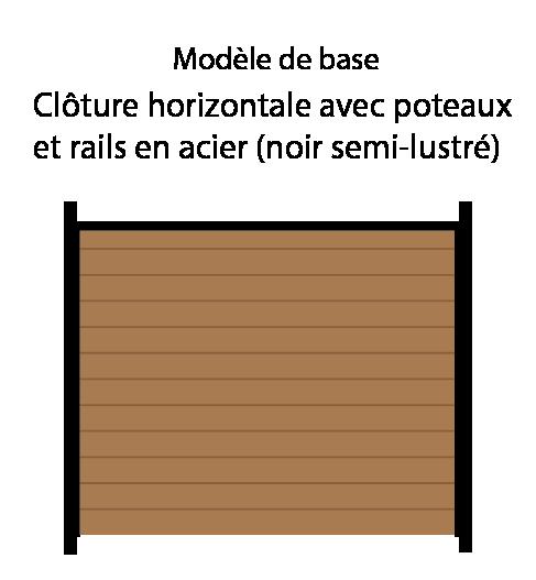 Clôture en bois avec poteaux en métal noir