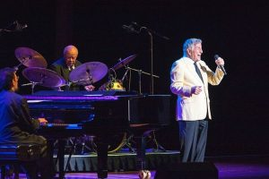 Tony Bennett at Ravinia Festival. Also in photo are pianist Mike Renzi and drummer Howard Jones. Photo by Russell Jenkins for Ravinia