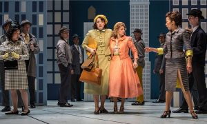 BRi Sudia (Ruth) l and Lauren Molina (Eileen) and cast in 'Wonderful Town' at Goodman Theatre. Photo by Liz Lauren