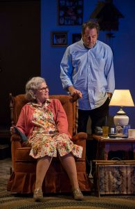 Debra Monk (Edna) and Ian Barford (Andrew) in 'Visiting Edna' at Steppenwolf Theatre. Photo by Michael Brosilow