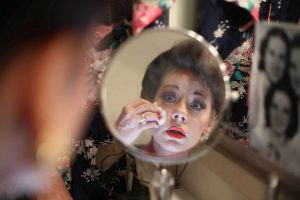 "Angela Ingersoll as Judy Garland in Porchlight production of ""End of the Rainbow' Photo by Michelle Leatherby"