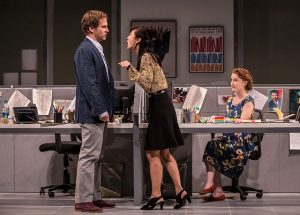 "'Ryan Spahn (Dean), Jennifer Kim (Kendra) and Catherine Combs (Ani) in ""Gloria' at the Goodman Theatre."
