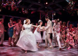 Bride to be Sophie Sheridan ( Tiffany Tatreau), center, and company of Mamma Mia. Photo by Liz Lauren