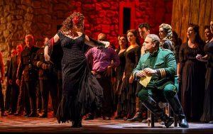 Ekaterina Gubanova (Carmen) teases Joseph Calleja (Don Jose) in 'Carmen' at the Lyric Opera of Chicago. Photo by Todd Rosenberg