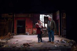 Penny Slusher (Mary Murphy) and Francis Guinan (Marty Murphy) return to their Hurricane Sandy ravaged home in 'By the Water' at Northlight Theatre. Photo by Michael Brosilow
