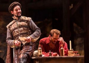 Marlowe (Michael Perez) works with a frustrated Will Shakespeare (Nick Rehberger) in 'Shakespeare in Love' at Chicago Shakespeare Theater, now through June 11, 2017. Photo by Liz Lauren.