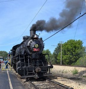 Steam engines are again going around the Illinois Railway Museum tracks. Photo by Webster's Unabridged Inc and Illinois Railway Museum