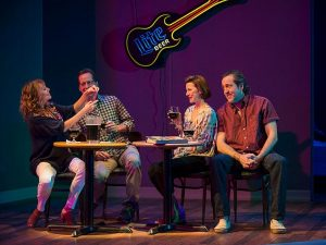 Sally Murphy (Margaret) and Tim Hopper ( Paul) set Cora vander Broek (Jules) up with Ian Barford (Wheeler) at a Karaoke bar. Photo by Michael Brosilow