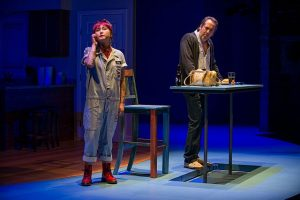 Kahyun Kim (Minnie) and Ian Barford (Wheeler) in 'Linda Vista' at Steppenwolf. Photo by Michael Brosilow