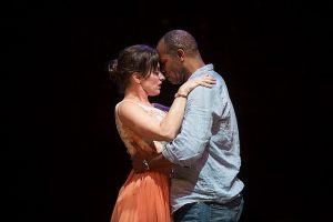 Kathy Voytko and Nathaniel Stampley in 'Bridges of Madison County' at Marriott theatre. Photo by Liz Lauren