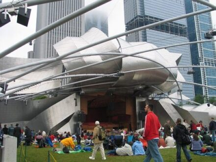 Pritzker Pavilion in Millennium Park hosts summer concerts. (JJacobs photo)