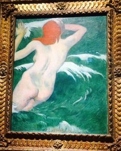 "Gauguin, 1889 ""In the Waves (Ondine I), oil on canvas Photo taken at the exhibit by Jodie Jacobs"