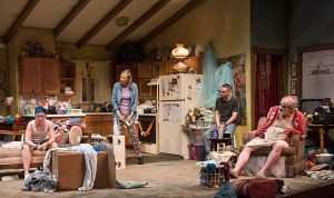 Em Grosland (Max), Amy Morton (Paige), Ty Olwin (Isaac) and Francis Guinan (Arnold) in 'Hir' at Steppenwolf. Photo by Michael Brosilow