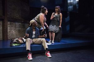 "Curtis Bannister, Teressa Gamba and Nicole Laurenzi in Kokany Productions ""Little Fish."" Michasel Brosilow photo"