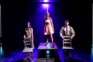 Maddie Burke, l, Heather Chrisler and Scott Shimizu in 'Machinal' at Greenhouse Theater. Photo by Evan Hanover