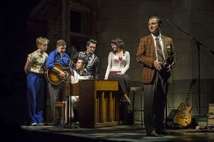 Paramount Theatre's 2017-18 Broadway Series opener Million Dollar Quartet stars (from left) Gavin Rohrer as Jerry Lee Lewis, Adam Wesley Brown as Carl Perkins, Kavan Hashemian as Elvis Presley, Bill Scott Sheets as Johnny Cash, Courtney Mack as Dyanne and Nicholas Harazin as Sam Phillips. Liz Lauren photo