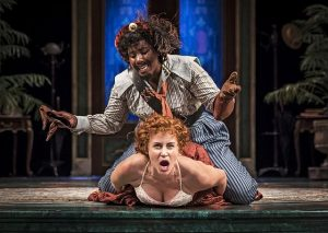 Alexandra Henrikson (Katherine) and Crystal Lucas-Perry (Petruhio) in 'The taming of the Shrew.'