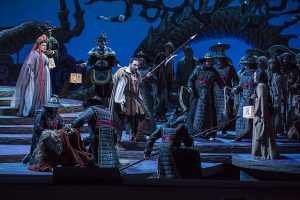 Amber Wagner, Stefano La Colla and Maria Agresta in Turandot. Todd Rosenberg photo.
