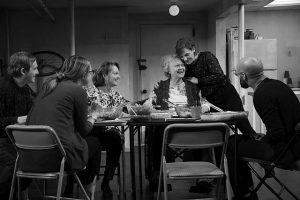 Richard Thomas, Therese Plaehn, Pamela Reed, Lauren Klein, Daisy Eagan, Luis Vega. in 'The Humans' at Cadillac Palace Theatre. Photo by_Julieta Cervantes.