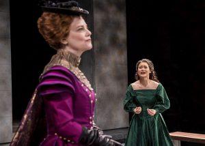Kellie Overbey (Elizabeth I) l, listens as K.K. Moggie (Mary Queen of Scots) pleas to be released. Liz Lauren photo