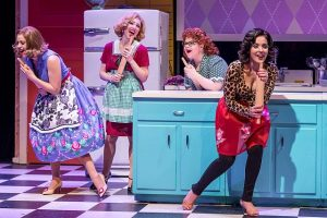 Courtney Wolfson (Joan Smith), Libby Servais (Connie Olsen), Marissa Rosen (Dottie O'Farrell) and Linedy Genao (Agnes Crookshank) in A Taste of Things to Come at the Broadway Playhouse. Photos by Brett Beiner