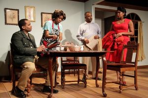 (Lto R) Terence Sims (Capt. George Smith), Stacie Doubin (Barbara), Henri Watkins (Dan) and Quenna Lene (Jacqueline Smith) in The Green Book from Pegasus Theatre Chicago and ShPleL Performing Identity.