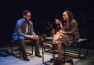 Julian Parker (Jackson Moore) and Kayla Carter (Valerie Johnston) in Smart People at Writers Theatre. Michael Brosilow photo