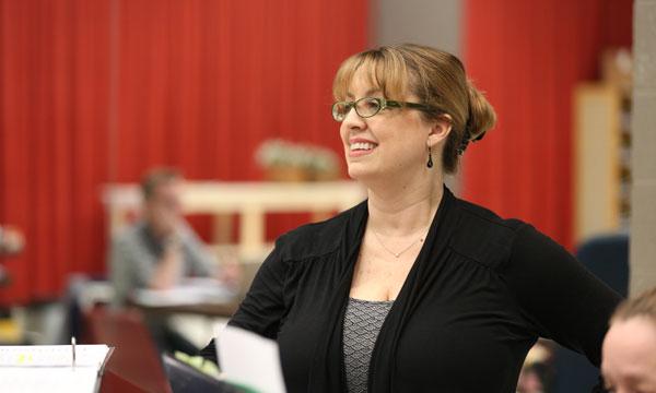 Rachel Rockewell at a Goodman Theatre rehearsal for Brigadoon. (Liz Lauren photo)