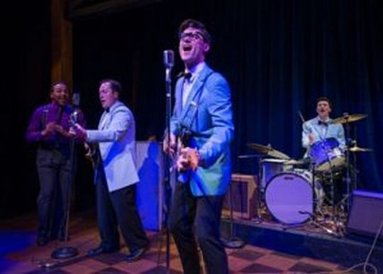 Benson, Mahler, Stevenson and McCabe (preview) in Buddy-The Buddy Holly Story, an American Blues theater revival. (Michael Brosilow photos)