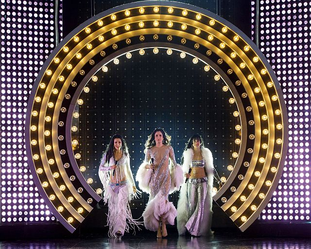 Teal Wicks, Stephanie J. block and Micaela Diamond in The Cher Show at Broadway inCchicago's Oriental theatre. (Photo by Joan Marchus)