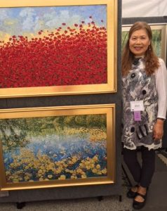 Bloomington, IN Artist Kwang Cha Brown who exhibits throughout the US will be at several Chicago area shows this summer. (Jodie Jacobs photo)