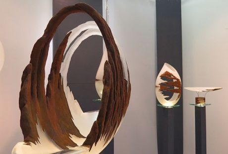 Sculptured glass by Alex Fekete at an American Craft Exposition. (Jacobs photo)