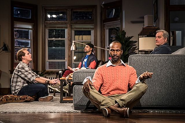 A yoga style exercise helps the guys in Support Group For Men at Goodman Theatre. )Photo by Liz Lauren)