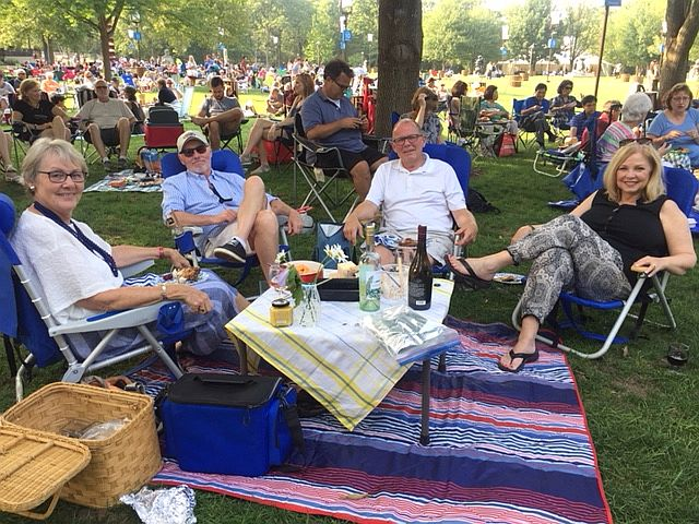 Wayne, IL residents Cindy and Jim, L, enjoy picnicking at a CSO concert at Ravinia Festival with Kildeer friends Steve and Valerie. (JJacobs photo)