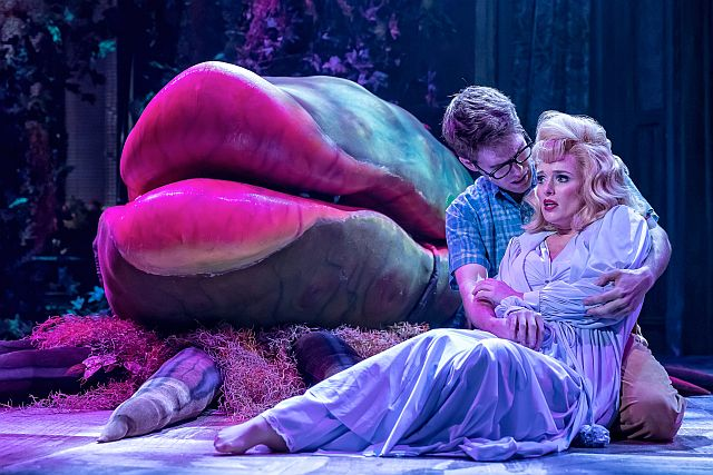 Will Lidke and Kelly Felthouse in Little Shop of Horrors at Drury Lane Theatre. (Brett Beiner photo)