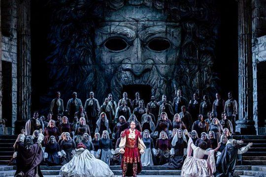 Matthew Polenzani and cast of Mozart's Idomeneo at Lyric Opera of Chicago. (Kyle Flubacker photo)