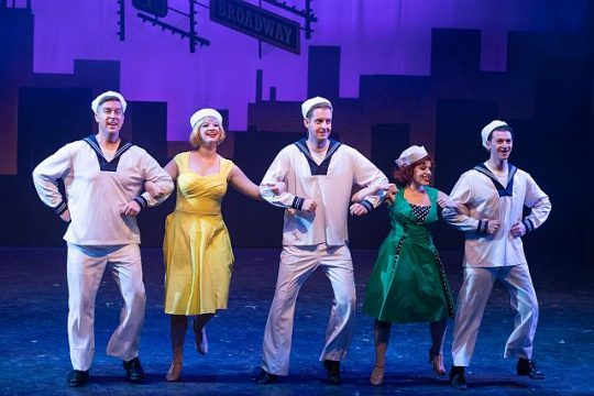 Aaron Stash, Brittny Goon, Christopher Johnson, Justine Klein and Steve Schur in On The Town (Zach Dalin Photography)
