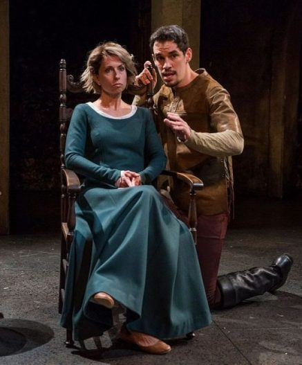 Audrey Francis (Elizabeth) and Ryan Hallahan (Scratch) in 'Witch' at Writers Theatre. Michael Brosilow photo)
