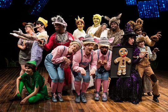 Cast of Shrek the Musical at Marriott Theatre