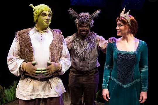 Shea Coffman, Jonathan Butler-Duplessis, and Jacquelyne Jones in Shrek the Musical.