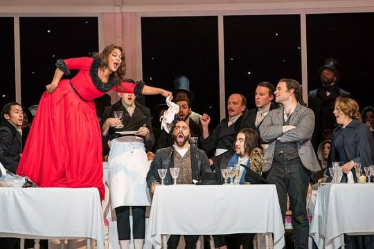 Danielle De Niese (Musetta) waves her panties in the face of Zachary Nelson (Marcello), Ricardo José Rivera (Schaunard), Michael Fabiano (Rodolfo), Maria Agresta (Mimi) and company. (Todd Rosenberg photo)