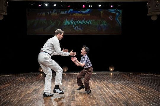 Will Burton, l, tap dances with Patrick Scott McDermott in Holiday Inn.